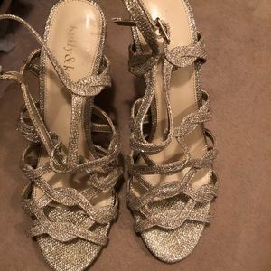 Gold Sparkly Special Occassion Strappy Heels